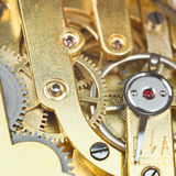 Brass mechanical clockwork of vintage watch Stock Photography