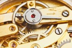 Brass mechanical movement of retro watch Royalty Free Stock Photos