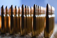 Brass metal bullet cartridge close-up  gauge caliber Royalty Free Stock Photo