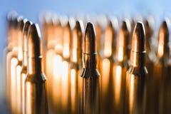 Brass metal bullet cartridge close-up  gauge caliber Royalty Free Stock Image