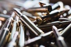 Brass metal bullet cartridge close-up  gauge caliber Stock Image