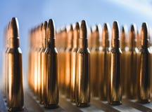 Brass metal bullet cartridge close-up  gauge caliber Stock Photos