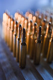 Brass metal bullet cartridge close-up  gauge caliber. Brass metal bullet cartridge close-up 7.62 gauge caliber Royalty Free Stock Photos