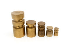 Brass metric weights Stock Photo
