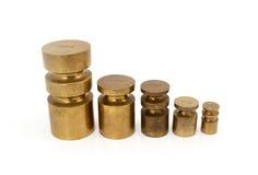 Brass metric weights Stock Photo