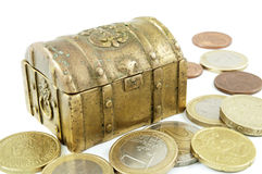 Brass money box and cash Stock Photo