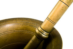 Brass mortar. On spice - detail stock photography