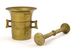 Brass mortar Royalty Free Stock Photos