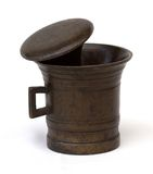 Brass mortar and pestle Stock Photo