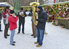 Brass music at an advent market Royalty Free Stock Photography