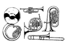Brass musical instrument. Vector hand drawn set of brass musical instruments. Sousaphone, trumpet, french horn, tuba and trombone Stock Image