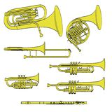 Brass musical instruments Stock Photography