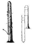 Brass musical instruments, vintage engraving Royalty Free Stock Photo