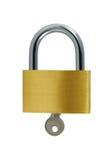 brass odizolowane kluczowe white zamka Obraz Royalty Free