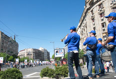 Brass orchestra entertains competitors and visitors at the Belgrade Marathon, Serbia Royalty Free Stock Photography