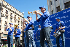 Brass orchestra entertains competitors and visitors at the Belgrade Marathon, Serbia Stock Images