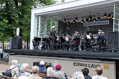 Brass orchestra of the Finnish army perform before the audience Stock Photography
