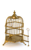 Brass ornate birdcage cage open door. Royalty Free Stock Photography