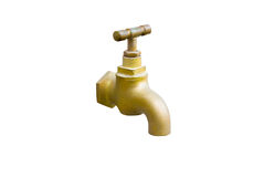 Brass outdoor faucet isolated on white background with clipping Royalty Free Stock Photos