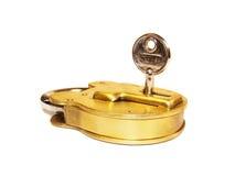 Brass padlock with key Stock Photos