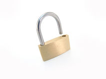 Brass padlock - unlocked Royalty Free Stock Photography