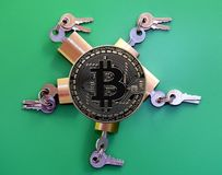 Brass padlocks and Bitcoin. Brass padlocks on green background surrounding Bitcoin Stock Images