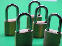 Brass padlocks. Closeup on green background Stock Photo