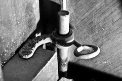 Piano latch. Brass piano case latch holding it together Stock Photos