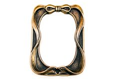 Brass Picture Frame With Bow. A cute brass and black picture frame with a bow and ribbon trim royalty free stock image