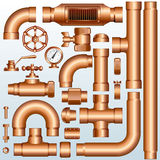 Brass Pipeline parts Stock Image