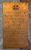 Brass Plaque George VI Royalty Free Stock Photo