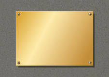 Brass plate. Editable brass company plate fixed with allen screws vector illustration