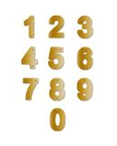 Brass plate Numbers. Number-shaped brass plates. Isolated illustrations on white background Stock Photos