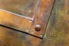Brass plate texture, old metal background. Royalty Free Stock Images