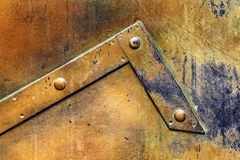 Brass plate texture, old metal background. Royalty Free Stock Image