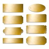 Brass plates. Photorealistic brass plates illustrations isolated on white background, with blank area you can write your own text into stock photography