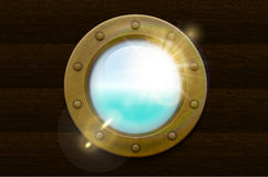 Brass porthole with rivets Stock Photography
