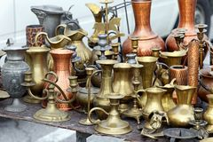 Brass pots antique Royalty Free Stock Photos