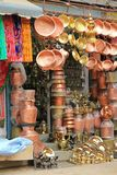 Brass pots, copperware and trinkets for sale in Kathmandu Royalty Free Stock Photography