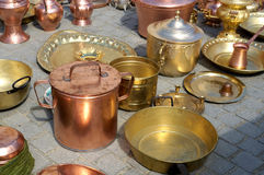 Brass pots Stock Photo