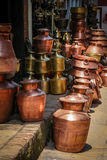 Brass pots Royalty Free Stock Images