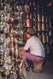 Brass pots shop Stock Image