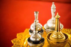 Brass Pour Ceremonial Water. In Thai Temple Royalty Free Stock Photography