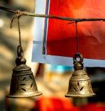Brass praying bells hanging Royalty Free Stock Photo