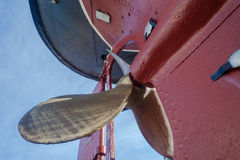 Brass Propeller Blades Close-Up Hull Tug Ship Royalty Free Stock Photos