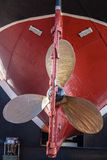 Brass Propeller Blades Hull Tug Ship Royalty Free Stock Photography