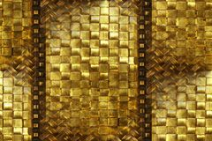 Brass, rattan, carved wood abs. Aged brass & rattan weave, carved wood trim pattern background Royalty Free Stock Photos