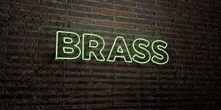 BRASS -Realistic Neon Sign on Brick Wall background - 3D rendered royalty free stock image Stock Image