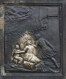 Brass relief of St. John of Nepomuk on Charles Bridge in Prague Stock Photography