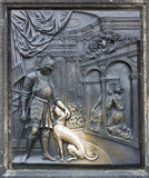 Brass relief of St. John of Nepomuk on Charles Bridge in Prague Royalty Free Stock Photography